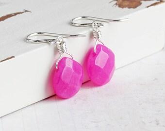 Hot Pink Earrings, Candy Jade Gemstone Earrings on Sterling Silver Hooks, Pink Teardrop Earrings, Hot Fuchsia Pink, Stone Jewelry