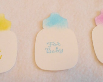 Die Cut Baby Bottle gift tags in blue, pink, yellow, and white, Set of 3 baby bottle gift tags, stamped with For Baby