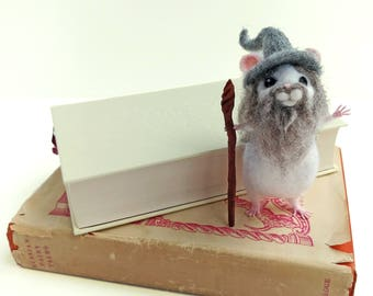 Hamster Gandalf 'Hamdalf the Grey' LOTR needle felted parody model fantasy Lord of the Rings Tolkien inspired literary book lover ornament