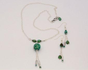 Artisan erstellt Türkis und Sterling Silber Y-Stil Halskette und durchbohrt Ohrring-Set