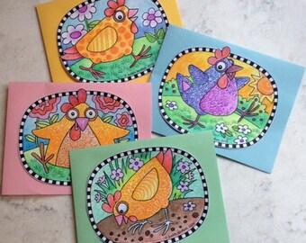 DIY Chicken Coloring Cards