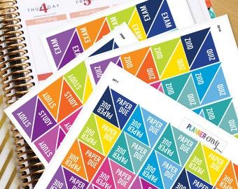 Planner Stickers Erin Condren Life Planner (ECLP) - Exam, Study, Quiz, Paper Due, School College Stickers (#2008, #2009, #2010, #2011)
