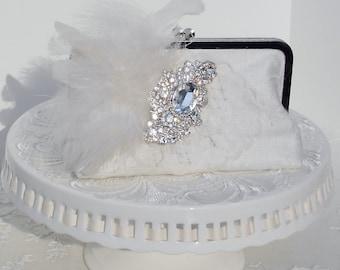 Ivory Bridal Clutch / Wedding Clutch / Wedding Handbag / Lace Wedding