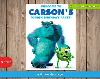 Monsters Inc Welcome Sign Banner - Printable Food Label Tent, decoration, favors - Text Editable - INSTANT DOWNLOAD
