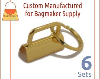 """1-1/4 Inch Deluxe Key Fob Hardware, Shiny Gold Finish, 6 Sets, 1.25"""", Purse Handbag Hardware, Jewelry Supply, KRA-AA006"""