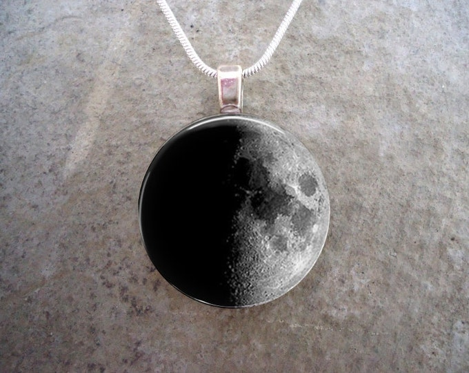 Waxing Half Moon - Glass Pendant - Astronomy Jewelry - Science Necklace