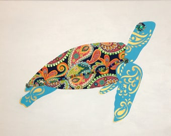 Green Sea Turtle 3 (blue) - Original Mixed Media on Canvas