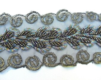 2 yds Of Hand Beaded Embroidery lace