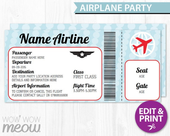 AIRPLANE Ticket Invite Aeroplane Passport Invitation Pilot Fun