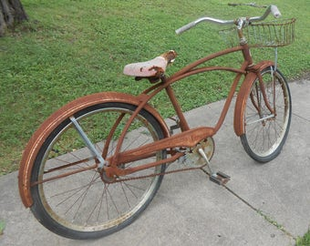 Antique Firestone Bicycle Barn Condition Heavy Metal Cruiser with Basket All Original Vintage Cycling Rusty Restoration Project