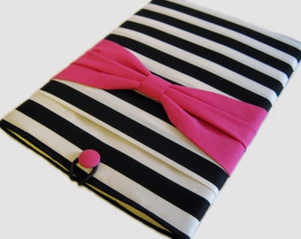 "Dell XPS 15"" Sleeve, 15 Inch Chromebook Case, 15"" Lenovo Ideapad Thinkpad cover, Acer Aspire, 15"" Laptop case, Pink Bow on Stripes"