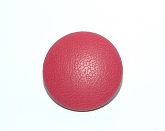 Fuchsia Leather Button. Leather Covered Button
