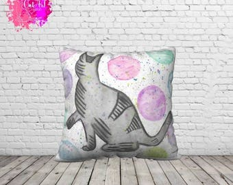Bubbles cats illustration pillow cover