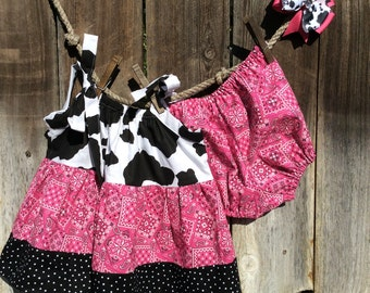Cow Print Pillowcase Dress, Bandana Pillowcase Dress, Baby Bandana Pillowcase Dress