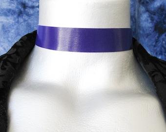 "Violet Purple Leather Choker - Plain and Simple - Adjustable Length - 20mm (3/4"" wide)"