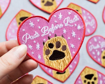 Pads Before Lads Patch - dog patch - cat patch - dog gift - cat gift - animal lover - pet patch - heart patch - animal patch - animal gift