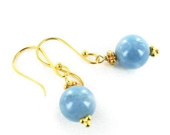 Aquamarine 18k Gold Earrings