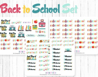 Back to School Planner Stickers Scrapbook Stickers No School Stickers Half Day Stickers | BTS-2A