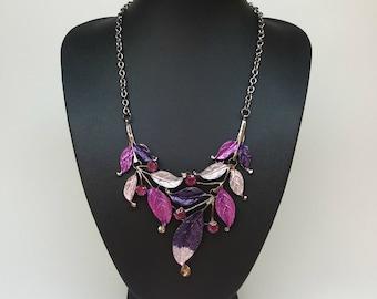Purple and pink Bib statement necklace,Purple necklace,Pink necklace,Silver tone chain,Short necklace,short necklace purple,modern necklace