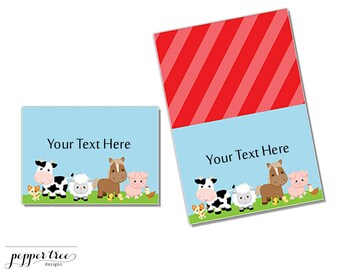 Table Label Cards - Farm Animals Barnyard - Instant Download Printable Party Decor  #FARM012