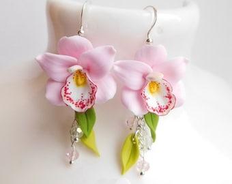 Pink flower earrings Pink orchid Floral earrings Long summer earrings Pink jewelry Handmade polymer jewelry Gift for her Wedding earrings