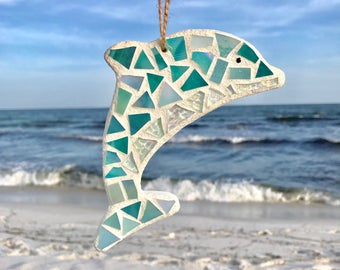 Dolphin Decor, Stained Glass Mosaic Dolphin, Coastal Decor, Beach Ornament, Dolphin Ornament, Stained Glass Mosaic, Mother's Day Gift