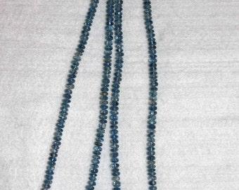 Kyanite, Blue Kyanite, Grade AA, Smooth Rondelle, Kyanite Rondelle, Semi Precious, Gemstone Rondelle, Half Strand, 4.5 mm AdrianasBeads
