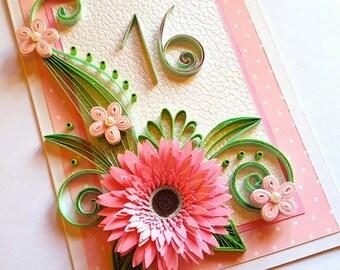 13th birthday card etsy sweet sixteen card daughter birthday card best friend 10th 11th 12th bookmarktalkfo Gallery