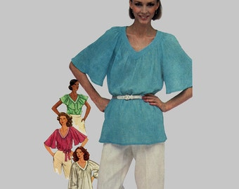 Blouses pattern, Easy McCalls 8863, Peasant blouses, V neck, Loose fitting blouses, Hip length Blouse, Bust 40 - 42 Size 18-20 UNCUT