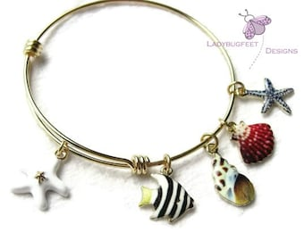 Sale! Gold plated Tropical Fish and Seashells Adjustable bangle bracelet, charm bracelet, beach bangle
