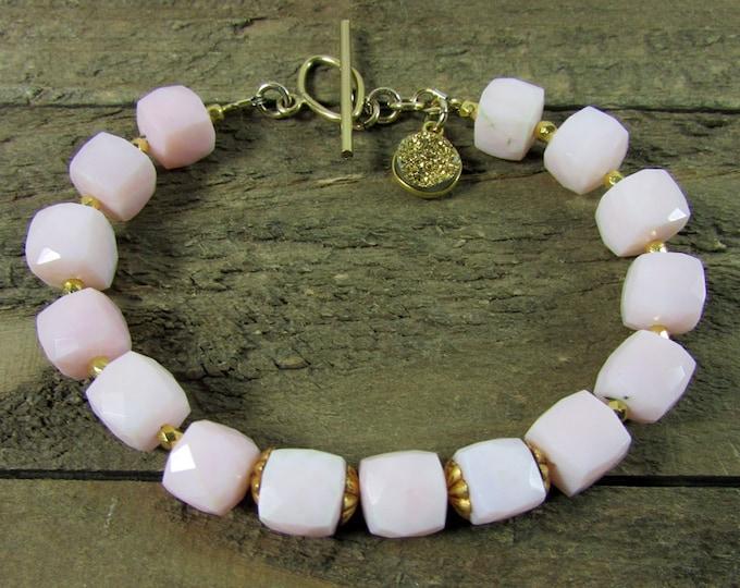 Pink Opal & Gold Bracelet, Opal gemstone Jewelry
