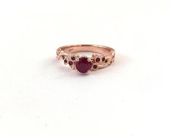 Ruby Engagement Ring In 14k Rose Gold With Unique Leaf Design