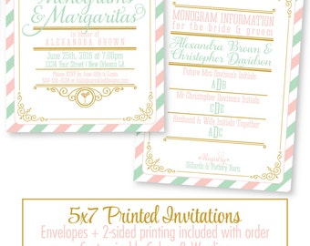 Monograms And Margaritas Bridal Shower Invitation - Monograms and Mimosas, Bridal Brunch and Bubbly, Monogram Shower, Gold Blush Pink Mint