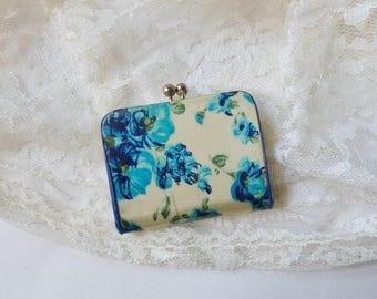 Mini Patent Leather Change Purse, Blue Floral Keychain Coin Purse