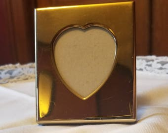 Small Heart shaped Mini Picture frame Gold metal