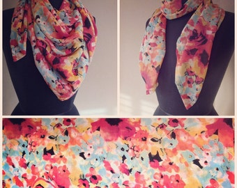 Handmade ooak silky floral spring square scarf