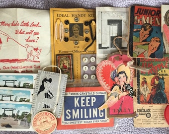 Vintage Estate Sale Junk Drawer Lot Vintage Sewing Deco Tally Mini Comics Advertising Ephemera Destash Crafters Collage Kitsch Just LOOK!