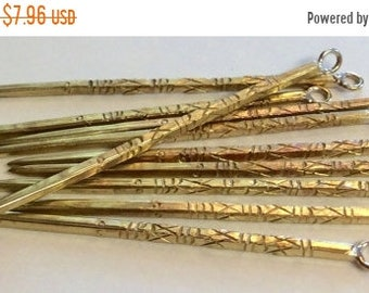 ON SALE Hill Tribe Brass Mien Dagger Pendant Earring Component  64.5mm x 3.5 mm Qty 1