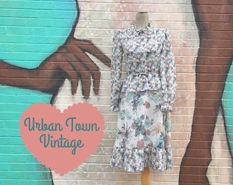 Vintage 1970s Blue And Taupe Floral Peplum Waist Prairie Dress (Size Small)