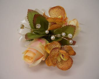 Peach Rose and Orchid Corsage, Mother/Grandmother Wedding Flowers