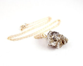 Natural Raw Pyrite Necklace - 18 inches