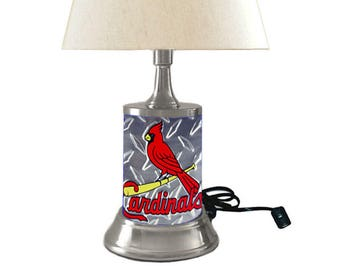 Table Lamp With Shade, St. Louis Cardinals Plate Rolled In On The Lamp Base