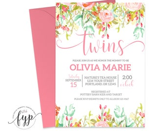 Floral Baby Shower Invitation Girl Printable Twins Baby Shower Invite