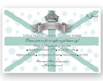 Royal Union Jack Blue DIY Party Invitation - Editable - INSTANT DOWNLOAD