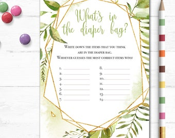 Printable What's in the Diaper Bag Baby Shower Game, Greenery, Gold Glitter, Leaves, Natural, Boho Shower, Digital, Party Game, MB343