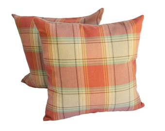 pair of buckley plaid pillows with linen back