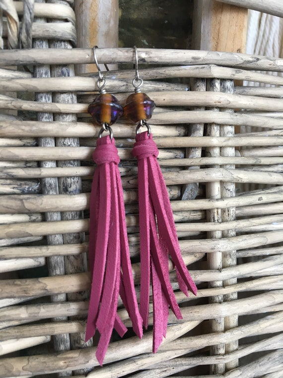 Tassel Earrings in Dusty Pink Faux Leather with Vintage Glass Bead - Retro Vibe Boho Dangle Earrings Gift for Her