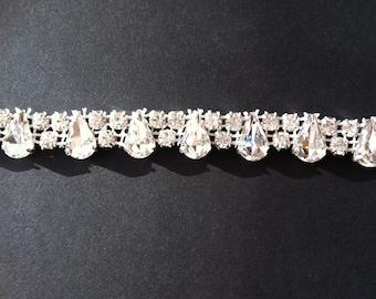 Rhinestone trim -1 yard trim- bridal sash- wedding-head piece