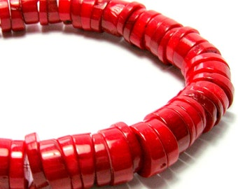 Red Bamboo Coral Strand - Heishi Hand Cut Coral (7mm)