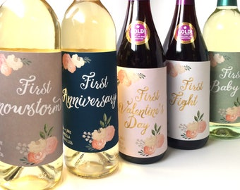 5 Marriage Milestone Wine Labels / Wedding Wine Firsts / Marriage Firsts Wedding Labels / Married Firsts Milestones / Wedding Milestone Gift